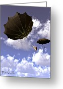 Umbrella Greeting Cards - Going Down Fast And Slow Greeting Card by Bob Orsillo