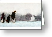Amish Family Greeting Cards - Going Home Greeting Card by Barry Rothstein