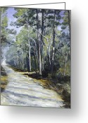 Country Dirt Roads Painting Greeting Cards - Going Home Greeting Card by Betty McGlamery