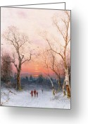 Bare Trees Painting Greeting Cards - Going Home Greeting Card by Nils Hans Christiansen