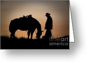 Old West Greeting Cards - Going Home Greeting Card by Sandra Bronstein