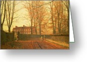 Sash Greeting Cards - Going to Church Greeting Card by John Atkinson Grimshaw