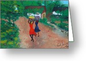Nicole Jean-louis Greeting Cards - Going To The Marketplace 1 Greeting Card by Nicole Jean-Louis