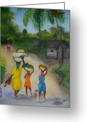 Mango Greeting Cards - Going To The Marketplace 2 Greeting Card by Nicole Jean-Louis
