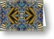 Different Ideas Greeting Cards - Gold and Blue Series Number Five Greeting Card by Mark Lopez