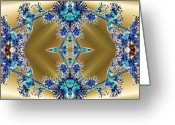 Different Ideas Greeting Cards - Gold and Blue Series Number Four Greeting Card by Mark Lopez