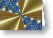 Different Ideas Greeting Cards - Gold and Blue Series Number One Greeting Card by Mark Lopez