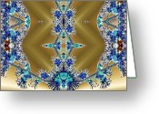 Different Ideas Greeting Cards - Gold and Blue Series Number Three Greeting Card by Mark Lopez
