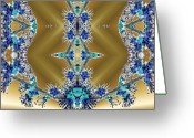Different Ideas Greeting Cards - Gold and Blue Series Number Two Greeting Card by Mark Lopez