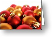 New-year Greeting Cards - Gold and Red Xmas Balls Greeting Card by Carlos Caetano