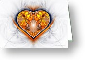 Valentine Greeting Cards - Gold and Sapphire Heart  Greeting Card by Sandra Bauser Digital Art