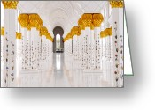 Sheikh Greeting Cards - Gold And White, Sheikh Zayed Mosque Greeting Card by Taylor Buckman