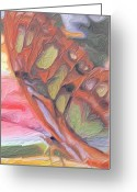 Guava Greeting Cards - Gold Butterfly Paintng Abstract Greeting Card by Don  Wright