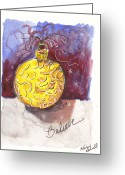 Holiday Notecard Greeting Cards - Gold Christmas Ornament Greeting Card by Michele Hollister - for Nancy Asbell