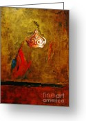 Anahi Decanio Mixed Media Greeting Cards - Gold Crown Abstract Greeting Card by Anahi DeCanio