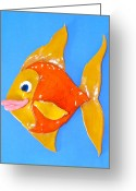 Gold Ceramics Greeting Cards - Gold Fish Greeting Card by Kimberly Castor