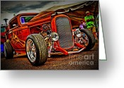 Gold Ford Greeting Cards - Gold Flames Greeting Card by Perry Webster