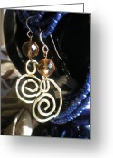 Metal Jewelry Greeting Cards - Gold Glass Brass Earrings Greeting Card by Beth Sebring