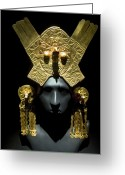 1300s Greeting Cards - Gold Headdress, Chimu Imperial Greeting Card by Tony Camacho