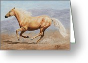 Wild Horses Greeting Cards - Gold Lightning Greeting Card by Crista Forest