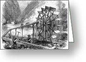 1860 Greeting Cards - Gold Mining, 1860 Greeting Card by Granger