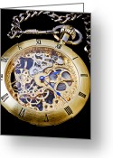 Watches Greeting Cards - Gold Pocket Watch Greeting Card by Garry Gay