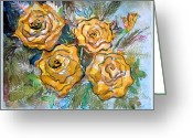 Floral Drawings Greeting Cards - Gold Roses Greeting Card by Mindy Newman