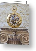 Watches Greeting Cards - Gold skeleton pocket watch Greeting Card by Garry Gay