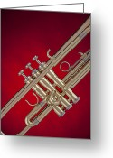 Trumpet Music Greeting Cards - Gold Trumpet Isolated On Red Greeting Card by M K  Miller