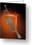 Still Life Greeting Card Greeting Cards - Gold Trumpet with Cross on Orange Greeting Card by M K  Miller