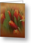 Warm Looking Flower Greeting Cards - Gold Warp Tilups Greeting Card by Debra     Vatalaro