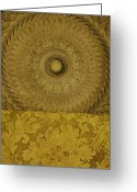 Gold Mountain Mixed Media Greeting Cards - Gold Wheel I Greeting Card by Ricki Mountain