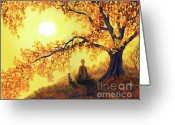 Laura Milnor Iverson Greeting Cards - Golden Afternoon Meditation Greeting Card by Laura Iverson