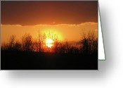 Shining Sun Kiss Mountains Greeting Cards - Golden Arch Sunset Greeting Card by Debra     Vatalaro