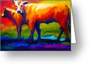 Cattle Greeting Cards - Golden Beauty - Cow and Calf Greeting Card by Marion Rose