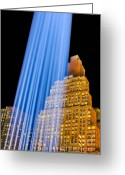 September 11 Greeting Cards - Golden Blue Greeting Card by Susan Candelario