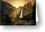 Rainbows Greeting Cards - Golden Bridalveil Fall Greeting Card by Wingsdomain Art and Photography