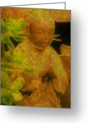 Buddha Art Greeting Cards - Golden Buddha Greeting Card by Jen White
