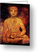 Asian Art Greeting Cards - Golden Buddha Greeting Card by Shijun Munns