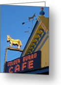 Burro Greeting Cards - Golden Burro Cafe Vintage Sign Greeting Card by The Forests Edge Photography
