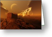 Brown Digital Art Greeting Cards - Golden Canyon Greeting Card by Corey Ford