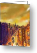 Purple Clouds Greeting Cards - Golden City Greeting Card by Russell Pierce