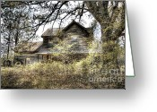 Rural Decay  Digital Art Greeting Cards - Golden Days Greeting Card by Sari Sauls