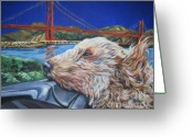 Golden Gate Painting Greeting Cards - Golden Doodle Cruising San Fransisco Greeting Card by Lee Ann Shepard