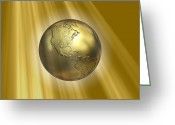 Precious Gem Greeting Cards - Golden Earth, Artwork Greeting Card by Roger Harris