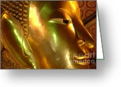 World Tour Greeting Cards - Golden Face Of Buddha Greeting Card by Bob Christopher