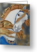 Merry-go-round Greeting Cards - Golden Fantasy Greeting Card by Debbie LaFrance