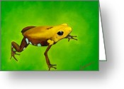 Poison Greeting Cards - Golden frog of Supata Greeting Card by Sabina Espinet