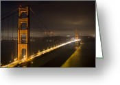 Landmarks Greeting Cards - Golden Gate at night Greeting Card by Mike Irwin