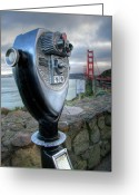 Marin Greeting Cards - Golden Gate Binoculars Greeting Card by Peter Tellone